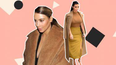 kim kardashian camel coat dupe