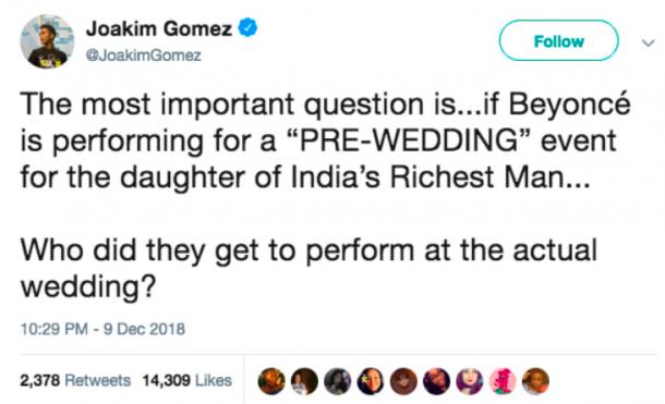 Beyonce pre-wedding optreden