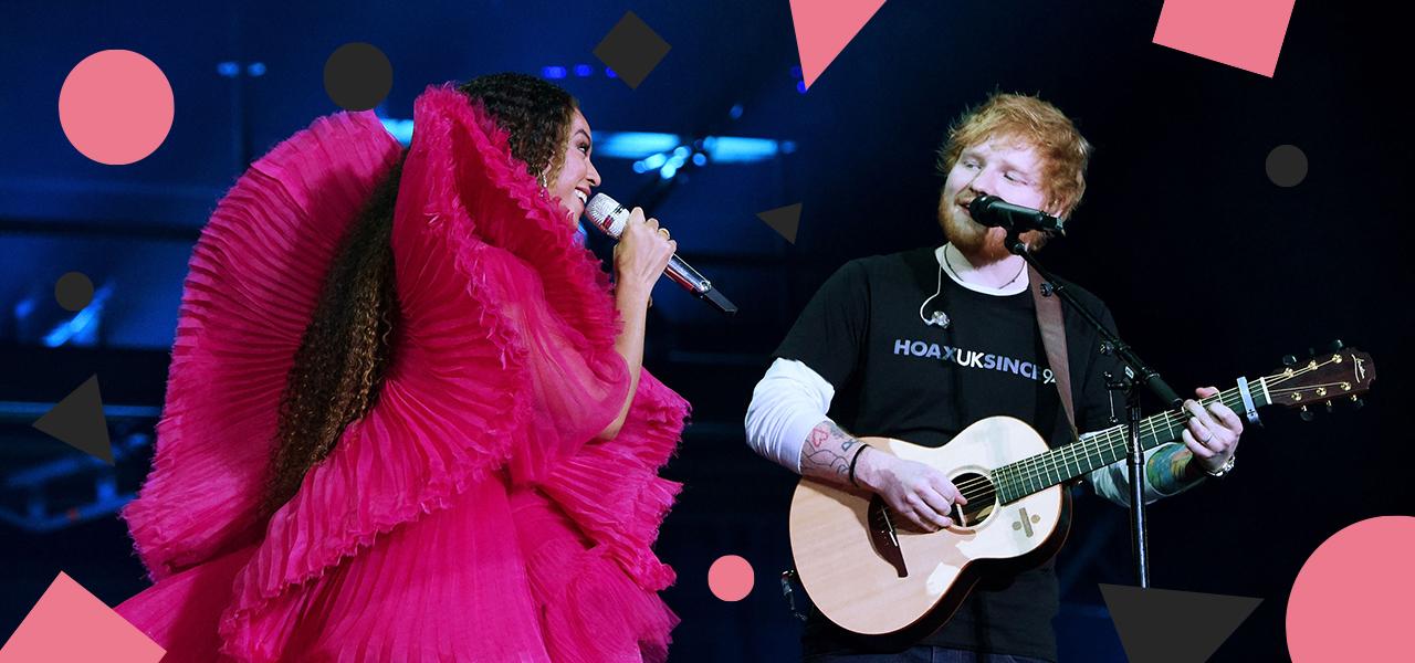 Ed Sheeran en Beyoncé traden op en natuurlijk zeiken mensen dan over Ed's outfit