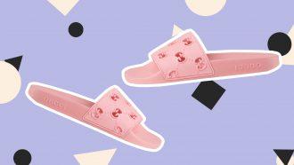 roze gucci slides