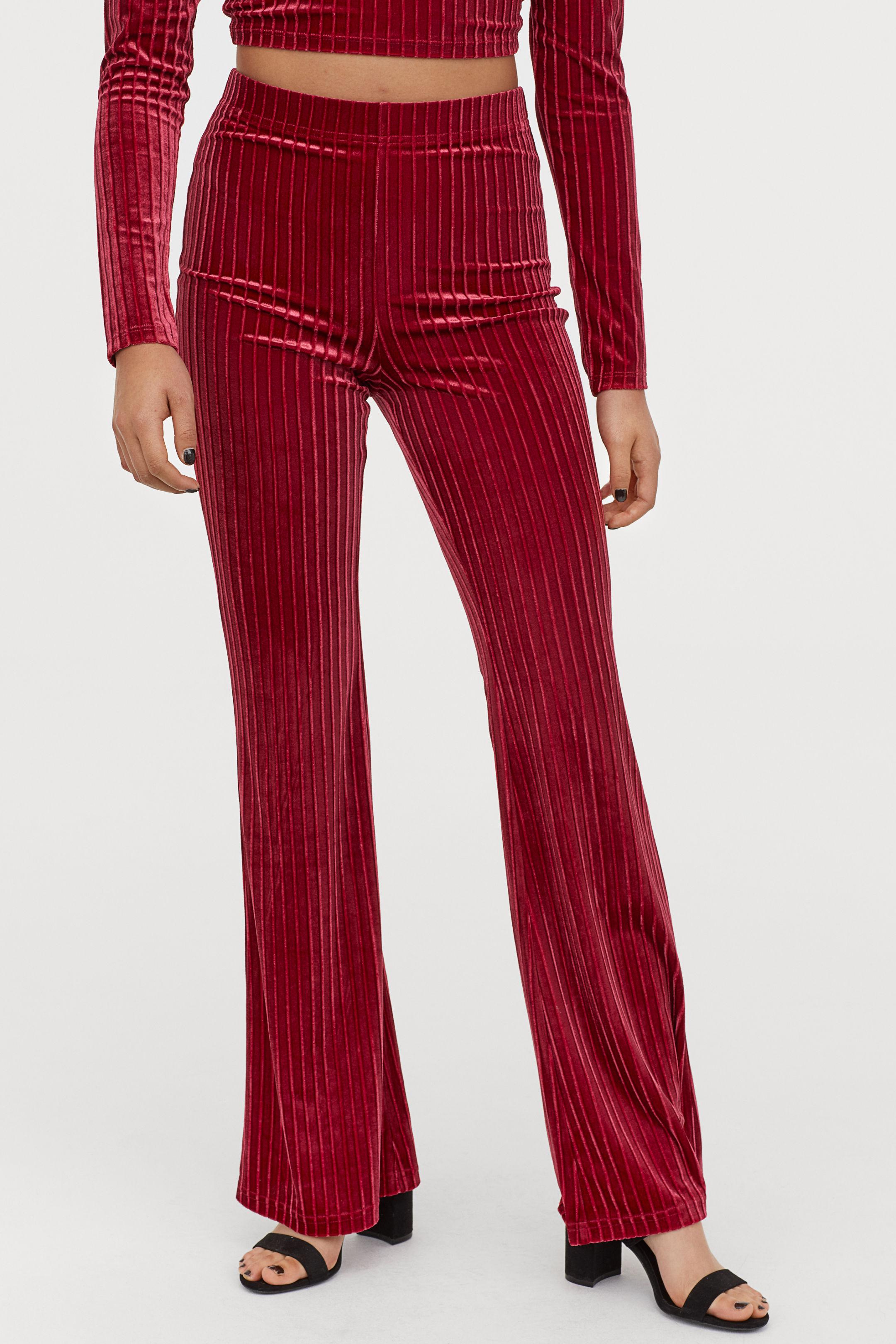 h&m broek rood rib velours